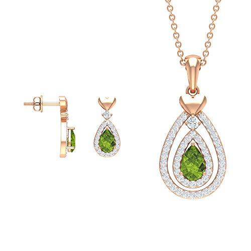 Rosec Jewels 18 quilates oro rosa pera redonda Green Peridoto/Olivino Diamond