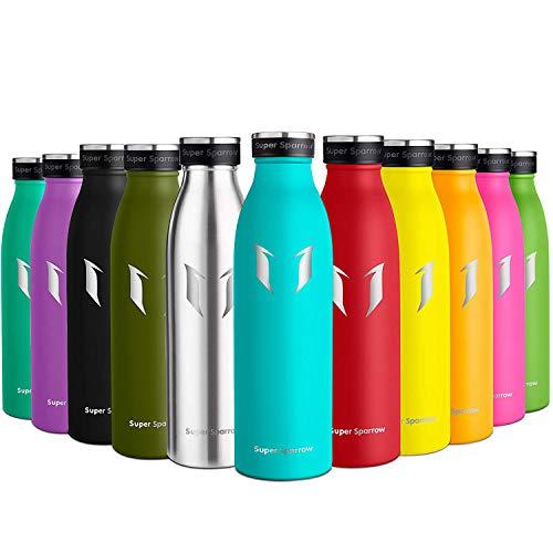Super Sparrow Botella de Agua Acero Inoxidable- 500ml - sin BPA - islamiento de Vacío de Doble Pared, Botellas Frío/Caliente, Reutilizable para Niños, Colegio, Sport, Gimnasio, Bicicleta