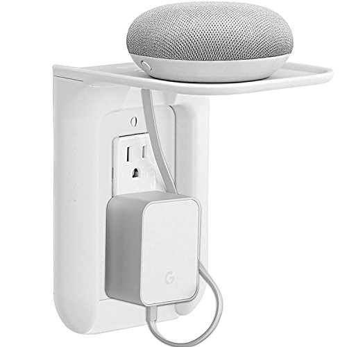 WALI Wall Outlet Shelf Standard Vertical Duplex Décor Outlet with Cable Channel for Cell Phone, Dot 1st and 2nd 3rd Gen, Google Home, Speaker up to 10 lbs (OLS001-W), White, 1 Pack