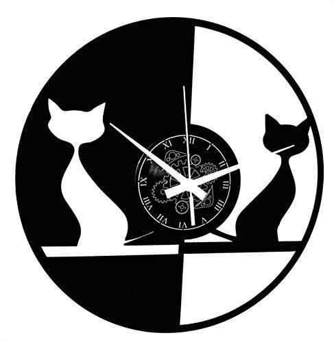 Instant Karma Clocks IK-1037 Horloge Murale Couple Chat, Animaux domestiques, Design Moderne, Fait...