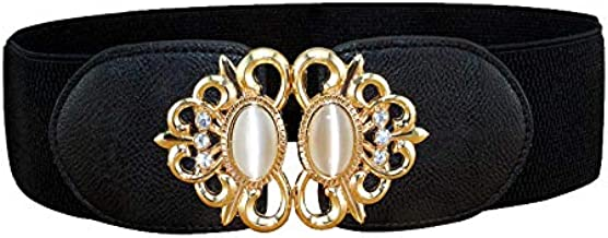 Romp Fashion Women's Non Precious Alloy Metal Fancy Elastic Straps Waist Belt (Black)