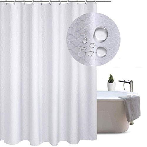 Shower-YJ Duschvorhang Luxus Weicher Polyeste Badewannenvorhang Mit Waffelmuster Wasserdicht Anti-Schimmel Stoff Duschvorhänge Eine Vielzahl Von Größen,Purewhite,100 * 200cm