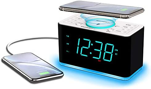 Emerson Radio ER100401 Smartset Alarm Clock Radio 15Watt Ultra Fast Wireless Charging Dual Alarm product image