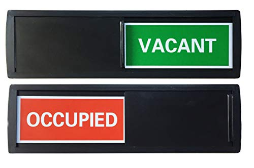Vacant Sign with Color Options (Restroom Sign, Office Sign, Conference Sign, Privacy Sign, Occupied Sign) - Tells Whether Room in Vacant or Occupied (Black Red/Green Label)