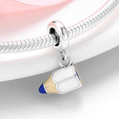 ZDJDMZ Hohlperlen Perlen925 Sterling Silber Mode Kleine Bleistift Anhänger Perlen Für Schmuck Fit Original Charms Armbänder Herstellung