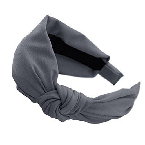 Frauen Komfortable weiche Tuch-Stirnband Haarband Haarreif Zubeh?r, Grau