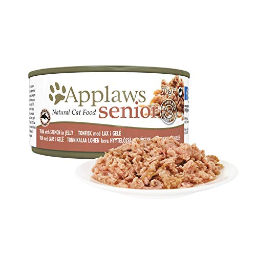 Applaws Senior Katze, Thunfisch & Sardine in Gelee, Nassfutter, Dose, 24er Pack (24 x 70 g)