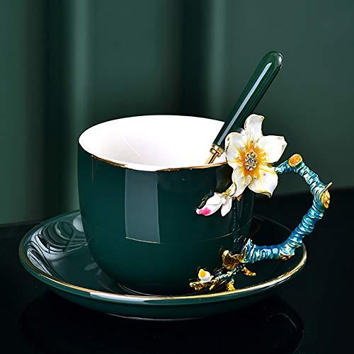 PSG Taza de café Reutilizable coloreados 3D Flor de la Flor de Albaricoque Taza Copa Conjunto de Esmalte de Porcelana de Hueso Milk Tea Adecuado for Uso de Oficina en casa (Color : Green)