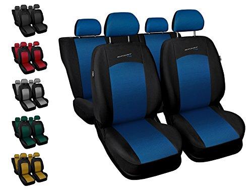 Carpendo Sitzbezüge Auto Set Autositzbezüge Schonbezüge Schwarz-Blau Vordersitze und Rücksitze mit Airbag System - Sport Line