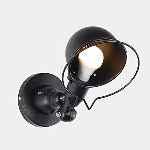 Amerikansk kreativ vägglampa, loft personlighet retro industriell väggljus, svart metall smides sconces för sovrum säng bar bibliotek gångjärn korridor kök kaffe (Color : Black)