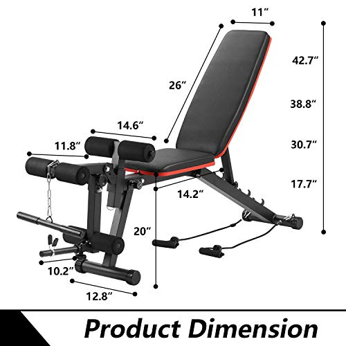 Adjustable Weight Bench Multi-Purpose Workout Bench Home Strength Training,Flat Incline Decline Exercise Bench with Leg Extension and Curl (Red line)