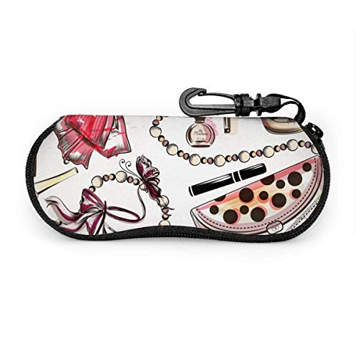 Fashion With Pink Hand Drawn Female Shoes Lipstick Perfume And Other Cosmetics Glasses Case Spectacle Case Box Portable Eyeglass Case Portable Glasses Case With Key Lock