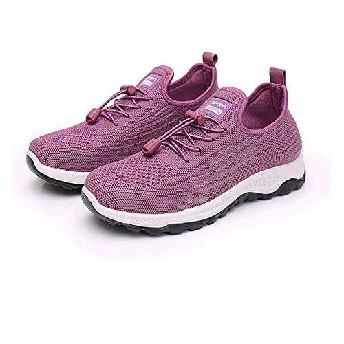 Mocasines Zapatillas de Deporte con Cordones de Superficie de Red para Mujer Zapatillas de Deporte con Plataforma de cuña, Zapatillas Ligeras para Caminar para Mujer (US:10/EU:41,Purple)