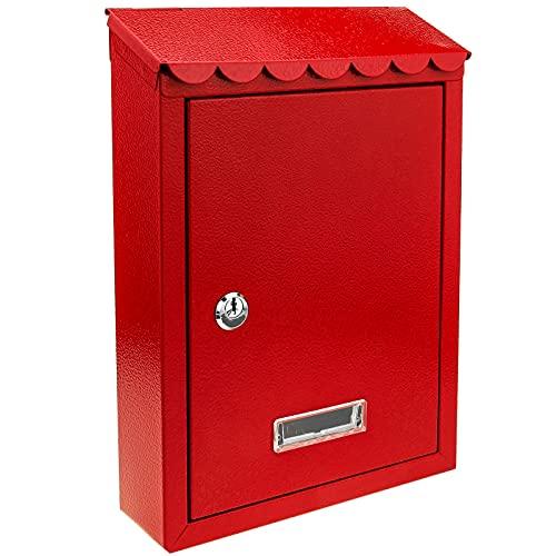 PrimeMatik - Boîte aux Lettres métallique coloré Rouge pour Mur 210 x 60 x 300 mm
