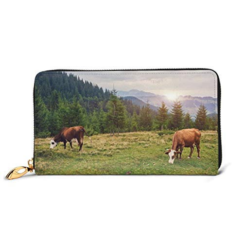 Women's Long Leather Card Holder Purse Zipper Buckle Elegant Clutch Wallet, Beautiful Nature Landscape with Cows Grazing In Meadow at Sunrise Photo,Sleek and Slim Travel Purse