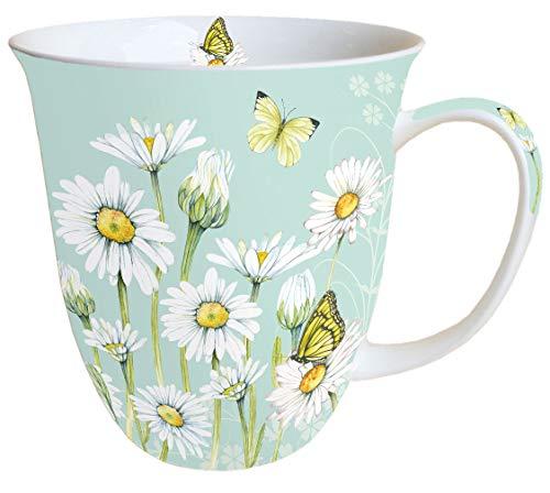 Ambiente Becher - Mug - Tasse - Tee/Kaffee Becher ca. 400ml Floral Daisy Green
