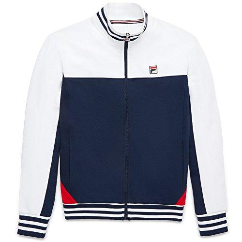 Fila Men's Tiebreaker Track Jacket, White, Peacoat, Chinese Red, 2XL