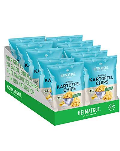 HEIMATGUT® Bio Chips Meersalz | Vegane Kartoffel-Chips ohne Konservierungsstoffe | Ohne Palmöl & Gentechnik | Glutenfrei & Ohne Künstliche Zusätze | 134 kcal pro Portion (8 x 125gr)