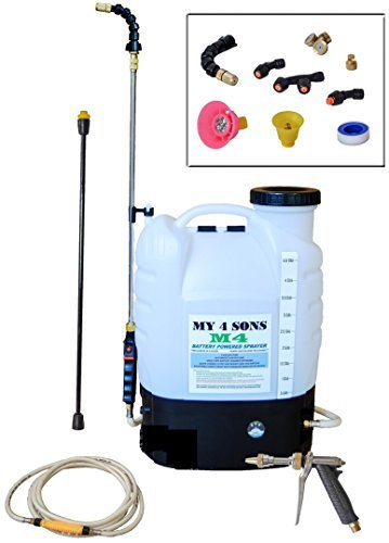 My 4 Sons 4-Gallon Battery Powered Backpack Sprayer By With 0-60 PSI PRESSURE DIAL, ADJUSTABLE BRASS NOZZLE, AND 16-35 INCH STAINLESS HD WAND, ACID PLASTIC WAND, 15ft EXTENDED HOSE and SPRAY PISTOL