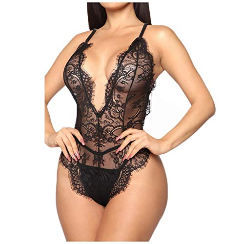 Brizz New vrouwen sexy ondergoed pyjama's lingerie backless deep V-hals bodysuit lace jumpsuit dames grote maten sluiten woonkleding plezier