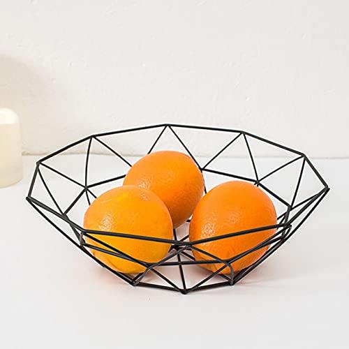 NYSJLONG Plato Frutero Cestas Estilo Simple Fruta geométrica Vegetal Cesta de Alambre Cuenco de Metal Almacenamiento de Cocina Escritorio Frutero de Metal