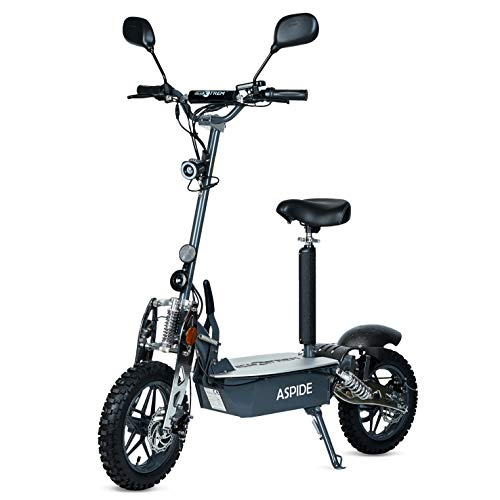 Aspide Metal - Patinete/Scooter eléctrico dos ruedas, con sillín, plegable, luz LED...