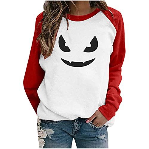 Sudadera casual de manga larga para mujer, para Halloween, invierno, con cuello en O, manga larga, con estampado de camiseta, blusa informal y túnica, C-blanco, XXL