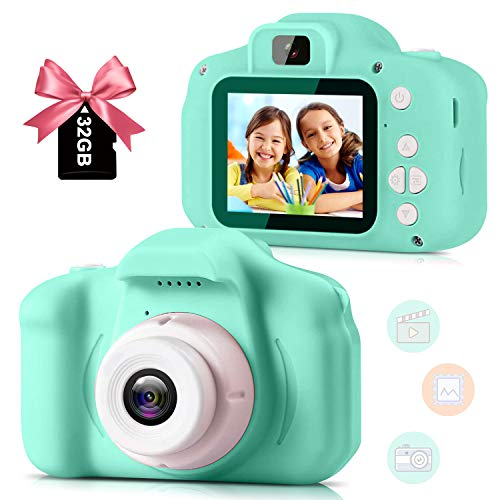 Kids Camera for Girls Boys, Kids Selfie Camera Toy 13MP 1080P HD Digital Video Camera for Toddler, Christmas Birthday Gifts for 3-10 Years Old Children with 32G SD Card [2021 Newest] Green