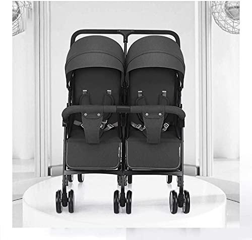 Cochecitos dobles para bebés y niños pequeños Cochecito infantil de verano, liviano y compacto plegable Cochecito doble para cochecito recién nacido convertible para asiento reversible (color: rosa) F