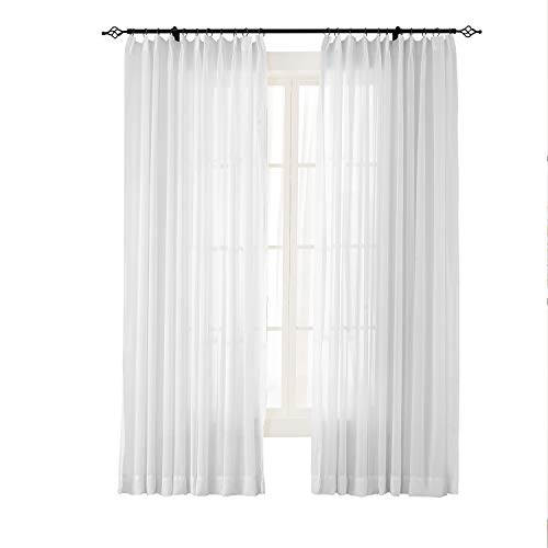 TWOPAGES White Sheer Curtains Voile Window Treatment Pinch Pleated Curtain Panels for Kitchen, Bedroom and Living Room (50 x 96 inches Long, 1 Panel)