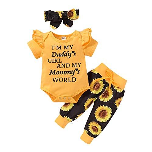 FYMNSI Conjunto de verano para bebé, de manga corta, con volantes, pelele + pantalones cortos + cinta para la cabeza, 3 piezas, para 0 – 18 meses Amarillo Daddy's Girl. 3-6 Meses