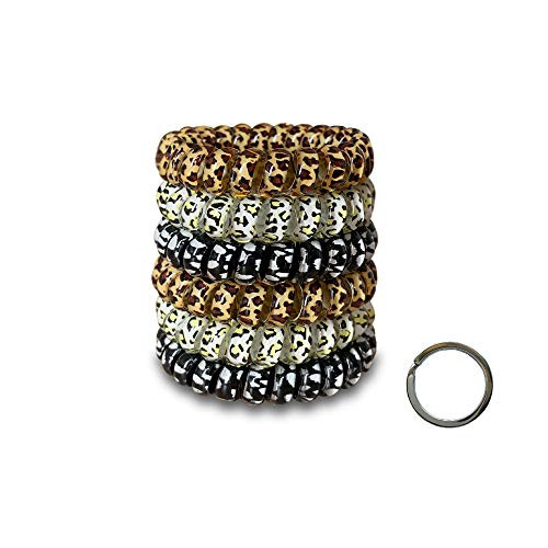 Spiral Hair Ties,Large Hair Ties,Macaron Color WaterProof Hair Ties/Leopard Print Spiral Hair Ties (6 pieces) (Leopard).