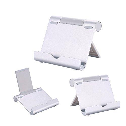 AAA Products - Supporto multiangolare portatile per tablet, e-reader e smartphone, corpo in alluminio leggero e resistente, compatibilità universale Argento
