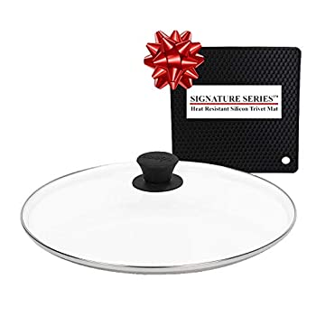Lodge 12 Inch Glass Lid Fits Lodge 12 Inch Cast Iron Skillets and 7 Quart Dutch Ovens + Signature Series Heat Resistant Silicon Pot Holder Trivet Mat