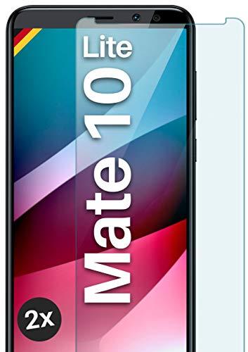 moex Panzerglas kompatibel mit Huawei Mate 10 Lite - Schutzfolie aus Glas, bruchsichere Displayschutz Folie, Crystal Clear Panzerglasfolie, 2X Stück