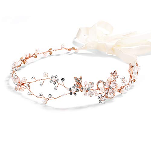 Mariell Rose Gold Freshwater Pearl and Crystal...