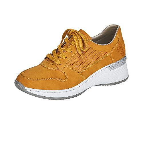 Rieker Damen Low-Top Sneaker N4317, Frauen Halbschuhe,lose Einlage,Keilabsatz,Lady,Ladies,Women's,Woman,schnürschuhe,gelb (68),40 EU / 6.5 EU