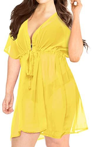 LA LEELA Women's Sexy Swimsuit Cover Ups Sheer Bikini Chiffon Blouse Flowy Cardigan Beachwear US 14-24W Yellow_H908