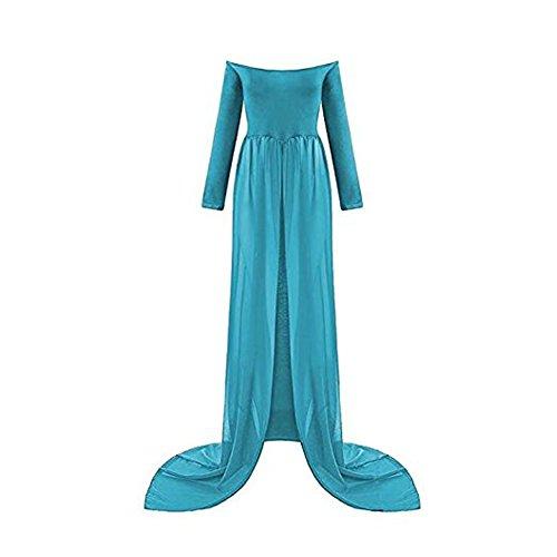 Schwangere Frauen Fotografie Stützen, Schwanger Kleid Maternity Gown Split Front Foto Shoot Kleid, Mutterschaft Fotografie Kleidung Schwangerschafts Maxikleid Schwangerschafts Kleid (Blau-2)