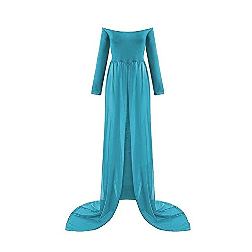 Mujer Embarazada Gasa Larga Vestido de Maternidad Split Vista Delantera Foto Shoot Dress Faldas fotográficas de Maternidad (Azul-2)