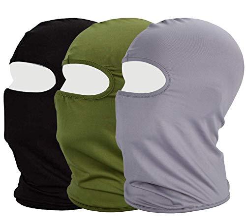 MAYOUTH Sturmhaube Balaclava UV Schutz Gesichtsmasken für Radfahren Outdoor Sports Vollgesichtsmaske Breath (Grün+grau+schwarz)