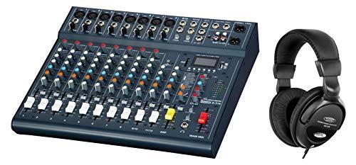 Studiomaster Club XS 12 Mischpult Set (kompaktes Mischpult mit 10 Kanälen & 12 Eingängen inkl. DJ-Kopfhörer)