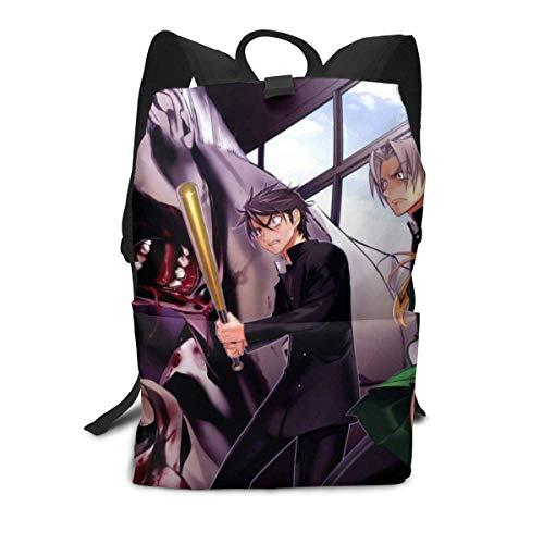 Kids Student 15-Zoll-Schultasche Laptop-Rucksack, Highschool of The Dead Anime-Druck Lässig Benutzerdefinierte leichte Büchertaschen mit großer Kapazität Daypack-Umhängetasche für Jungen Mädchen