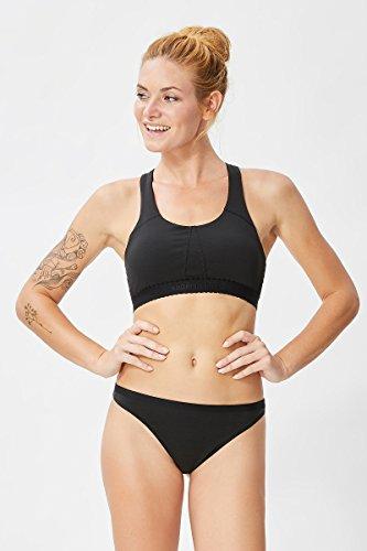 super.natural Damen Sport-BH mit gekreuzten Trägern, Mit Merinowolle, W TARA BRA 220, Größe: M, Farbe: Schwarz