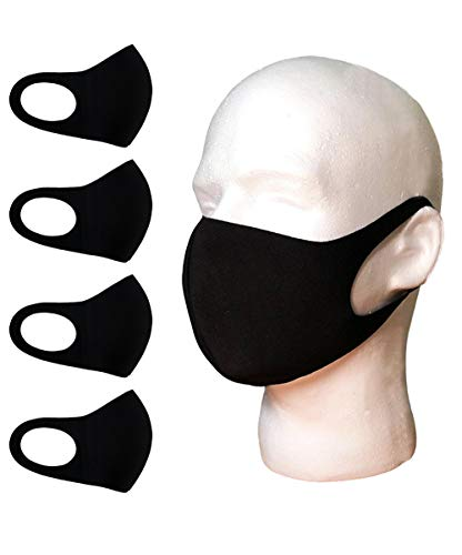 Cloth Face Covers, Economy Pack of 4, Thin Breathable Single Layer, Washable, Reusable Mask, Unisex, Laser Cut - Black