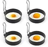 Sartén -Stick no Anillos de huevo, de 4pcs acero inoxidable Anillos Poachette for frito y huevos escalfados buñuelos, mini crepes y pudines Yorkshire Adecuado for cazador furtivo del huevo Pan, utensi