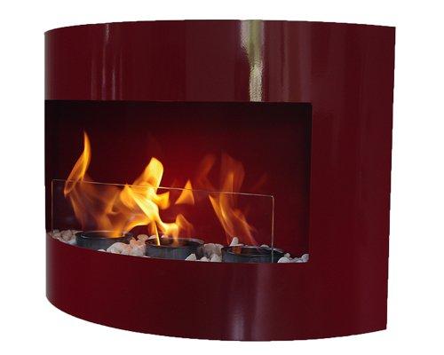 Nuovo Design Camino a gel /a Bio Etanolo Riviera Caminetto + vetro di sicurezza + pietre decorative (Rosso)