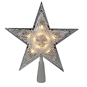 Lighted Star Decorative Christmas Tree Topper UL certified and approved for indoor use only Comes with spare replacement bulbs, fuses and cone 10.5 inches high by 10 inches wide by 2 inches deep