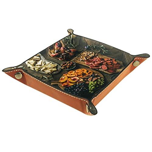 Bandeja de cuero,comida de la mesa ,Bandeja de cuero plegable para reloj...