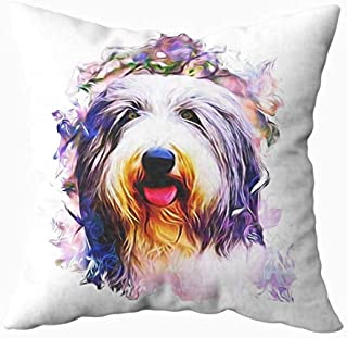 TOMWISH Hidden Zippered Pillowcase Halloween Bearded Collies 18X18Inch,Decorative Throw Custom Cotton Pillow Case Cushion Cover for Home Sofas,bedrooms,Offices,and More
